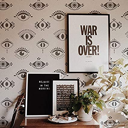 Protective Eyes Wall Stencil Evil Eye Wallpaper Stencil Design All Seeing Eyes Wall Pattern For Painting Bohemian Stencils Moroccan Stencils