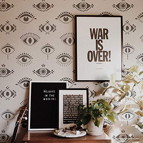 Painting Wallpaper - Protective Eyes Wall Stencil - Evil Eye Wallpaper Stencil Design - All Seeing Eyes Wall Pattern for Painting - Bohemian Stencils - Moroccan Stencils - Boho Wall Art for Bedroom or Living Room