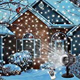 PRODELI Christmas Snowflake Projector Lights Snowfall Light Fairy Landscape Projectors Flurries Rotating Spotlights with Remote for Holiday, Outdoor, House, Garden, Wall Decoration with U.S. Plug