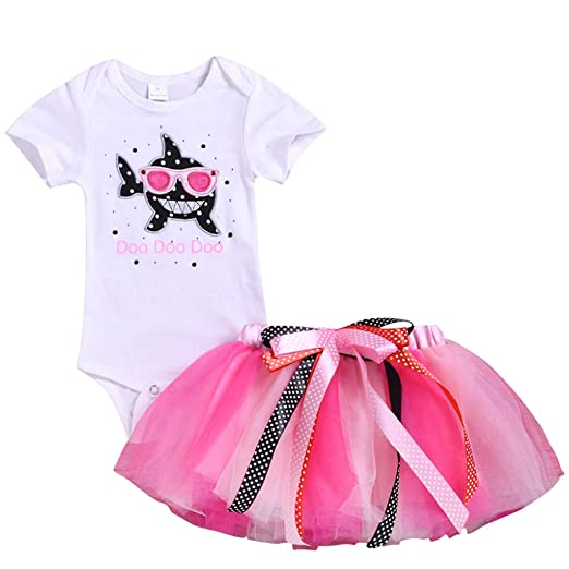 840c9ca2b Hatoys Toddler Baby Kid Girls Shark Romper Tops Tutu Skirt Princess Outfit  Set Clothes (White