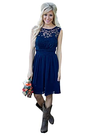 f144db02ed1 Illusion Country Bridesmaid Dress Short Sleeves Lace Empire Waist Chiffon V  Backless Prom Dress 2019 at Amazon Women s Clothing store
