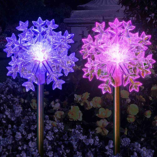 LED Snowflake Lights 3D Outdoor Christmas Decoration Solar Color Changing Fairy Ornament Charming Garden Display Wedding Party Decor