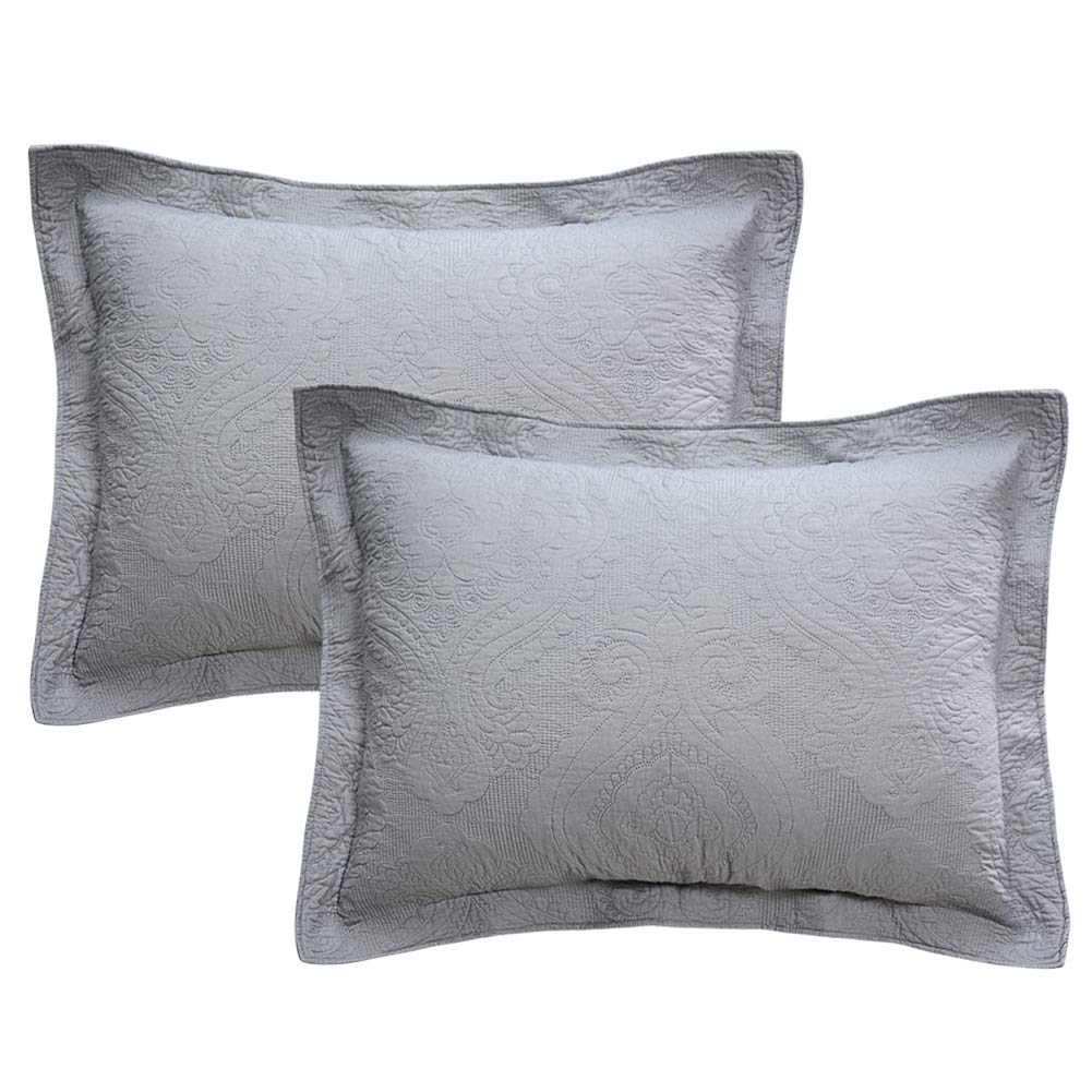 Brandream Gray Damask Quilted Pillow Shams Standard Size 100/% Cotton Pillow Covers Decorative Farmhouse Bedding