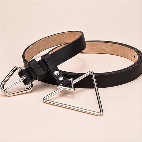 LONFENN Cinturón De La Hebilla del Metal del Triángulo De La Personalidad De  Las Mujeres con 0bc31c795c54