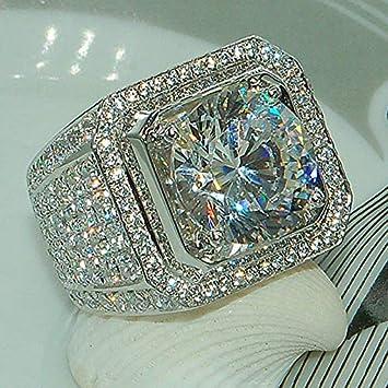 Silver Ring White Size 6-10 Zircon 925 Women Party Engagement Fashion Wedding