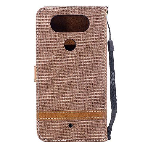 LG Q8 Funda,Grandcaser Sastre Denim Flip Cover Cartera Carcasa con función de soporte y Portátil Correa Ranura de Tarjeta Cierre Magnético para LG Q8-Marrón Marrón