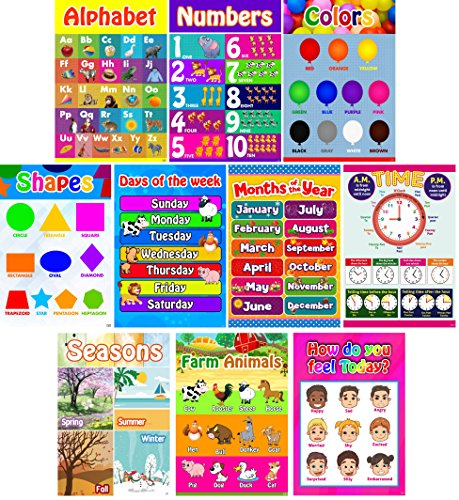 Educational Posters for Preschool, Toddlers, Kids, Kindergarten Classrooms | Fun Early Learning for Alphabet Letters, Numbers, Shapes, Colors, Seasons, Emotions, Days, Months, More (Set of 10). (Learning Poster)