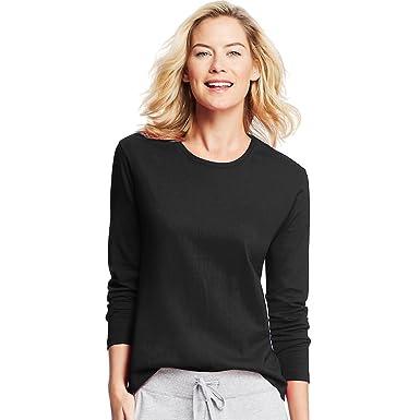 1383d77d6e30 Image Unavailable. Image not available for. Color: Hanes Women's Long-Sleeve  Crewneck T-Shirt_Ebony_Large_Ebony_Large