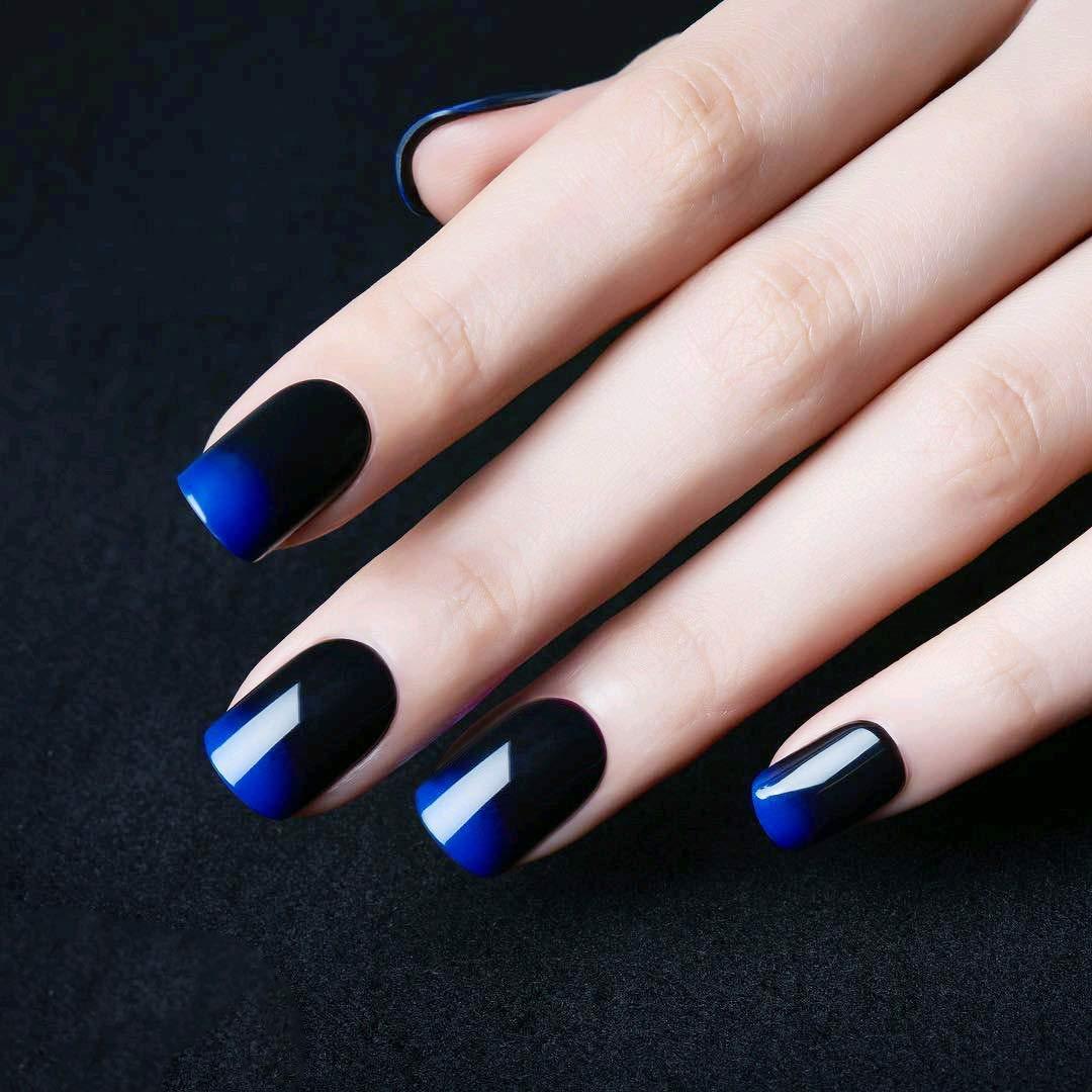 24Pcs Acrylic Nail Art Decoration Bi,Colour Gradient Jewelry Blue \u0026 Black  Short Shape Full Cover False