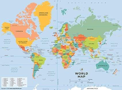 Cartina Mondo Paesi.Mappa Politica Del Mondo Amazon It Cancelleria E Prodotti Per Ufficio