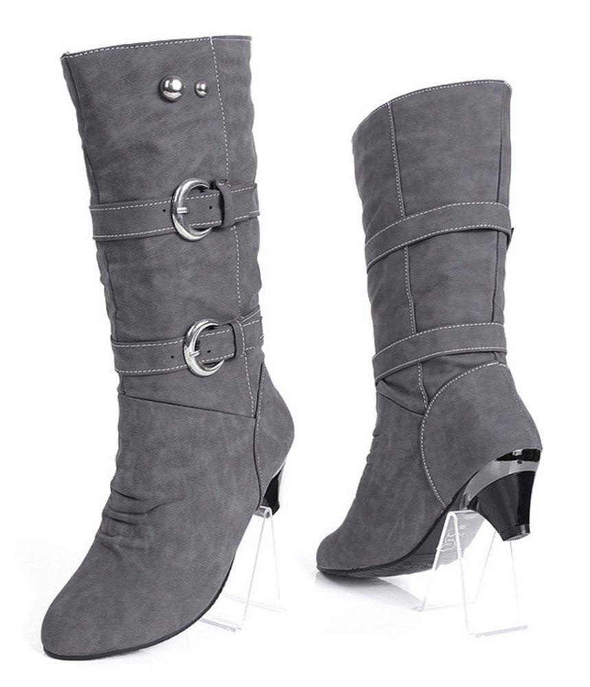 Aisun Women's Stylish Cool Round Toe Buckle Strap Dress Chunky Medium Heel Mid Calf Boots Shoes Gray 9 B(M) US