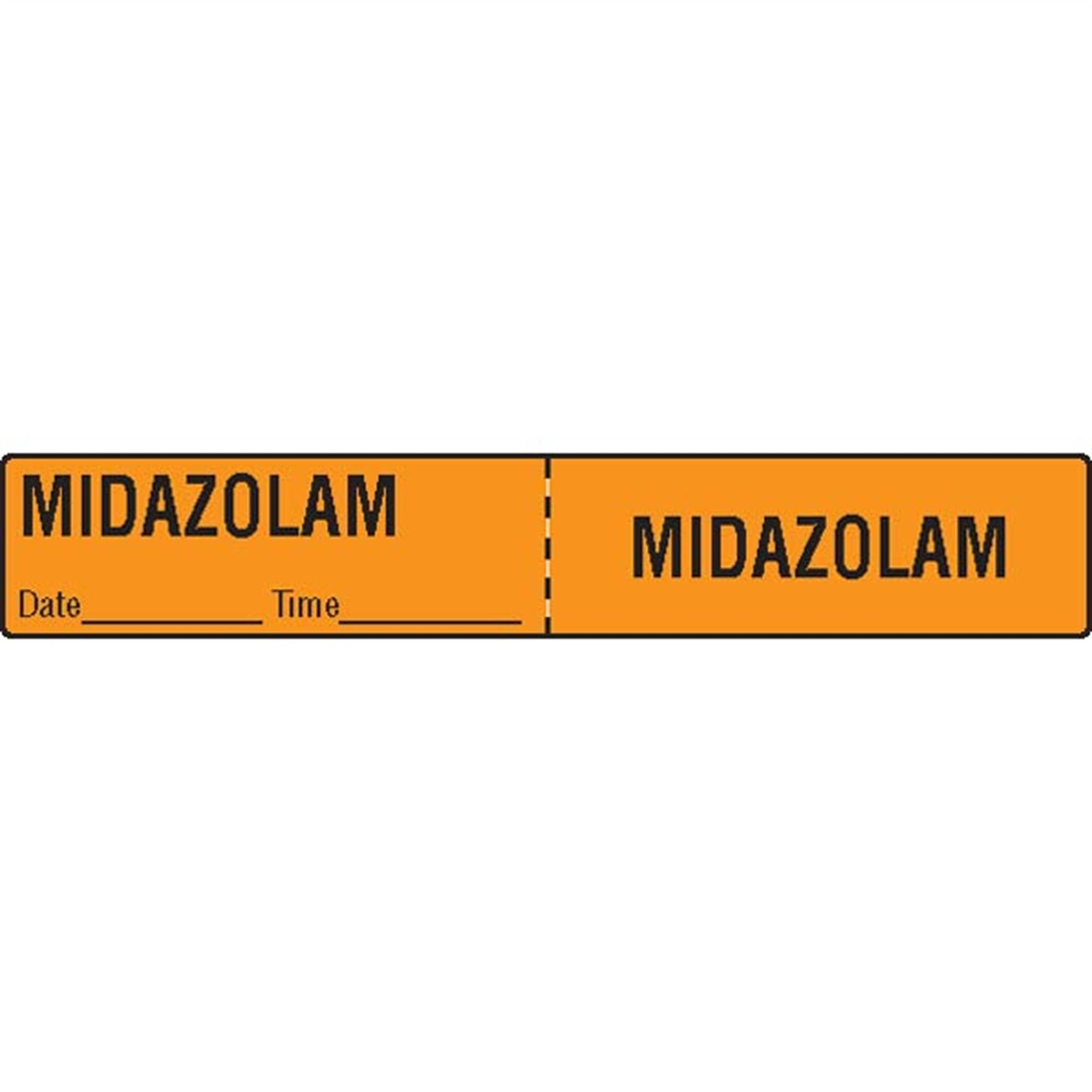 IV Tubing Medication Label Midazolam