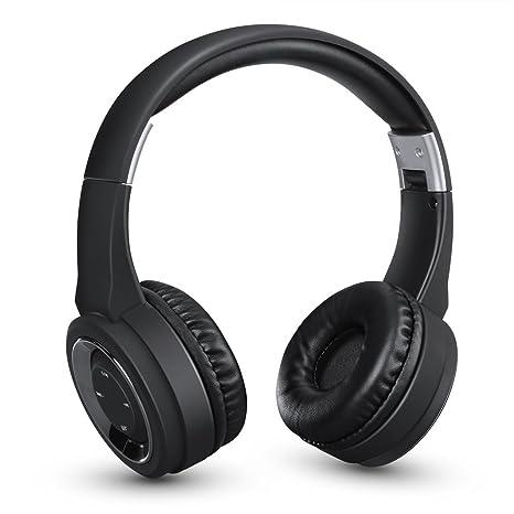Excelvan Auriculares cerrados con Bluetooth, Auriculares inalámbricos recargable para teléfonos, Color Negro