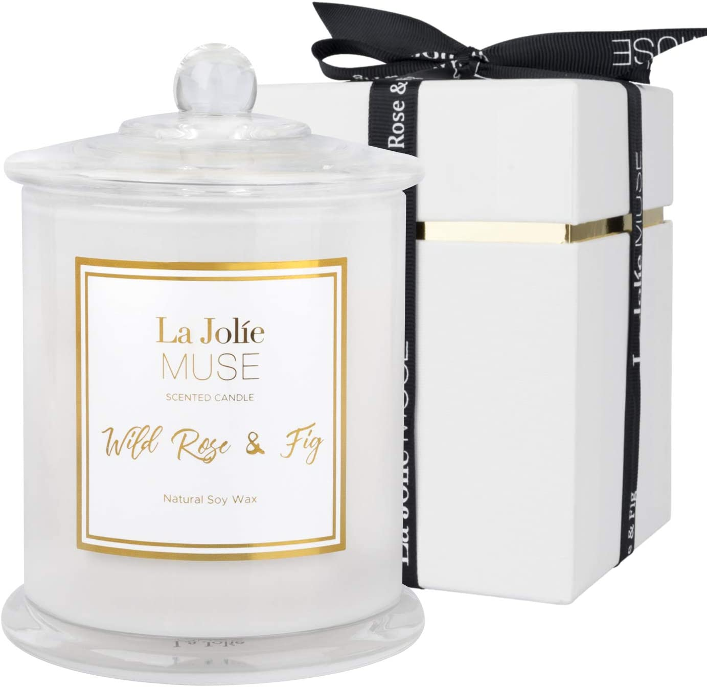 LA JOLIE MUSE Wild Rose & Fig Scented Candle, Natural Soy Candle for Home, 65 Hours Long Burning, White Glass Jar Candle, Candle Gift for Women