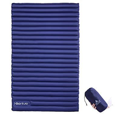 HIKENTURE Double Sleeping Pad - Inflatable Camping Air Mattress with Built-in Foot Pump- Light and Compact - for Backpacking, Self-Driving Tour, Hiking, Tent (Blue)