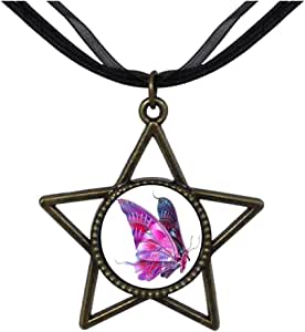 Chicforest Bronze Retro Style Beautiful Lovely Butterfly Five Pointed Star Pendant