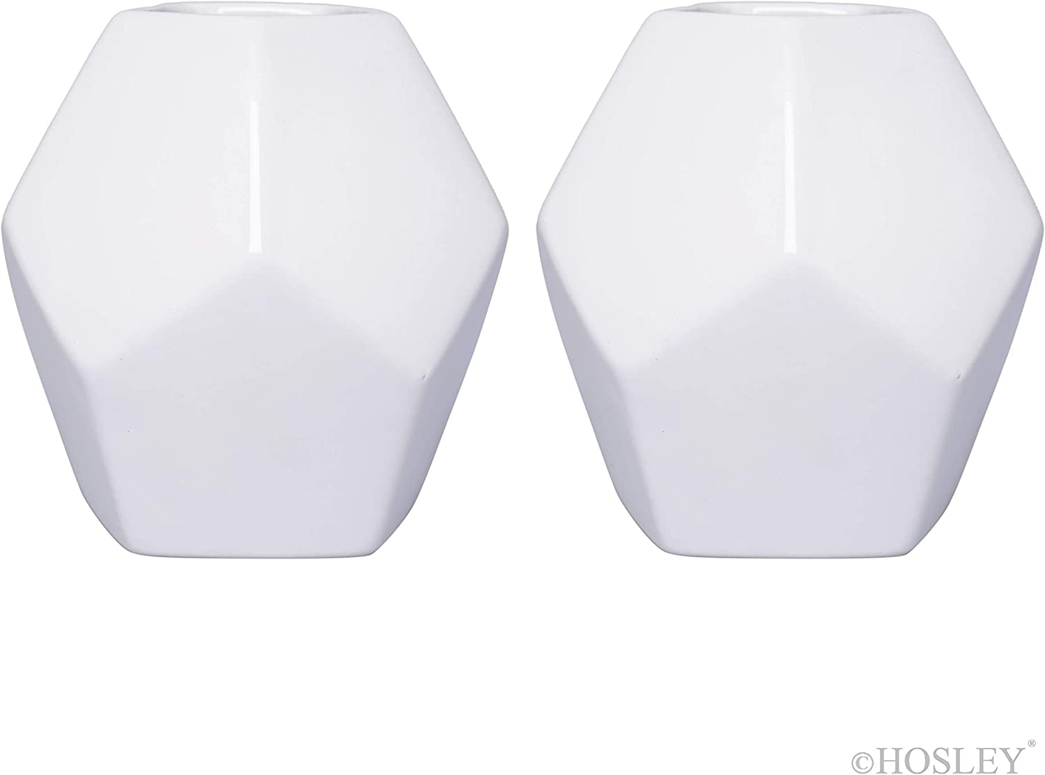 Hosley Set of 2 Geometric White Ceramic Vase 4.9 Inch High. Ideal Gift for Wedding Bridal or Party