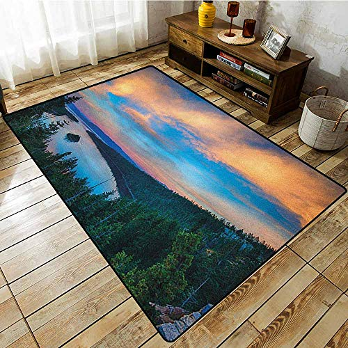 (Collection Area Rug,Lake Tahoe,High Angle View of Californian Freshwater Lake Tranquil Scene Sundown,Super Absorbs Mud Forest Green Sky Blue)