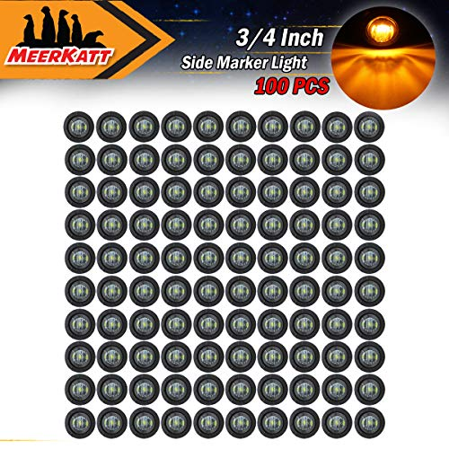 Meerkatt (Pack of 100) 3/4 Inch Mini Round Smoked Lens Amber Side LED Marker Indicator Light Universal Clearance Lamp Trailer Truck RV Boat Jeep Waterproof included black rubber grommets 12V DC