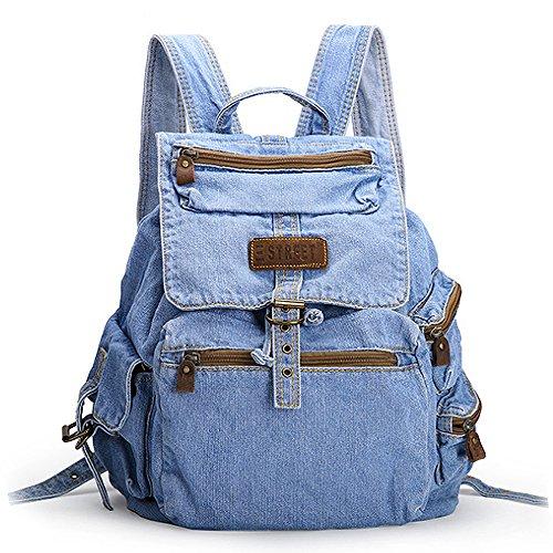 (JVP1078-C) Señoras Luc Azul marino Vaquero Espalda Bolsa de hombro Bolsa de hombro Junior High School Girls Capacidad de gran capacidad Volver Viajar Moda Popular Linda Luz Commuter School Azul