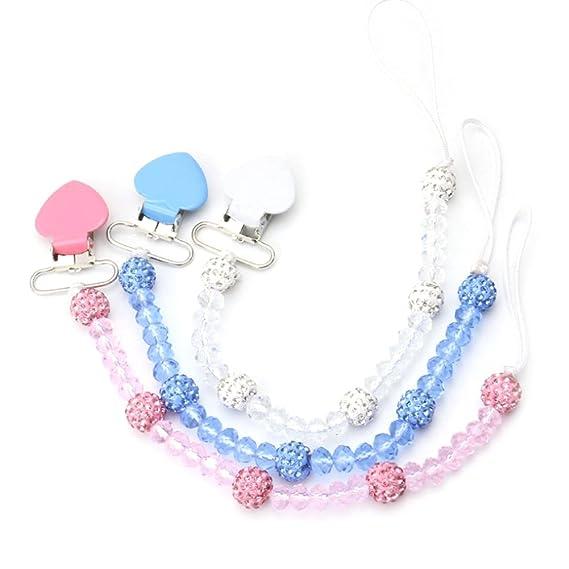 Pueri Cadenas para Chupetes Cristales Cadenas de Chupete para Bebés Antiperdida Cadenas con Pellets de Cristales (Blanco)