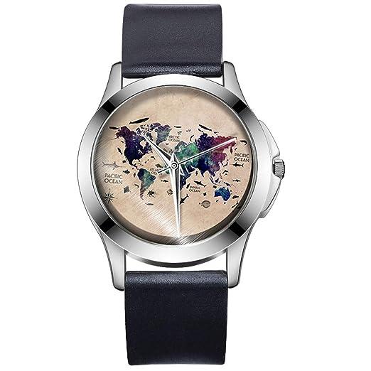 Godagoda Reloj de Cuarzo con diseño de Mapa del Mundo, Esfera de PVC, Correa para Hombres y Mujeres: Amazon.es: Relojes
