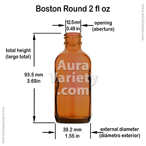 24 PACK BOSTON ROUND 2 OZ 60 ML AMBER GLASS BOTTLES WITH POLY CONE LINED BLACK CAPS