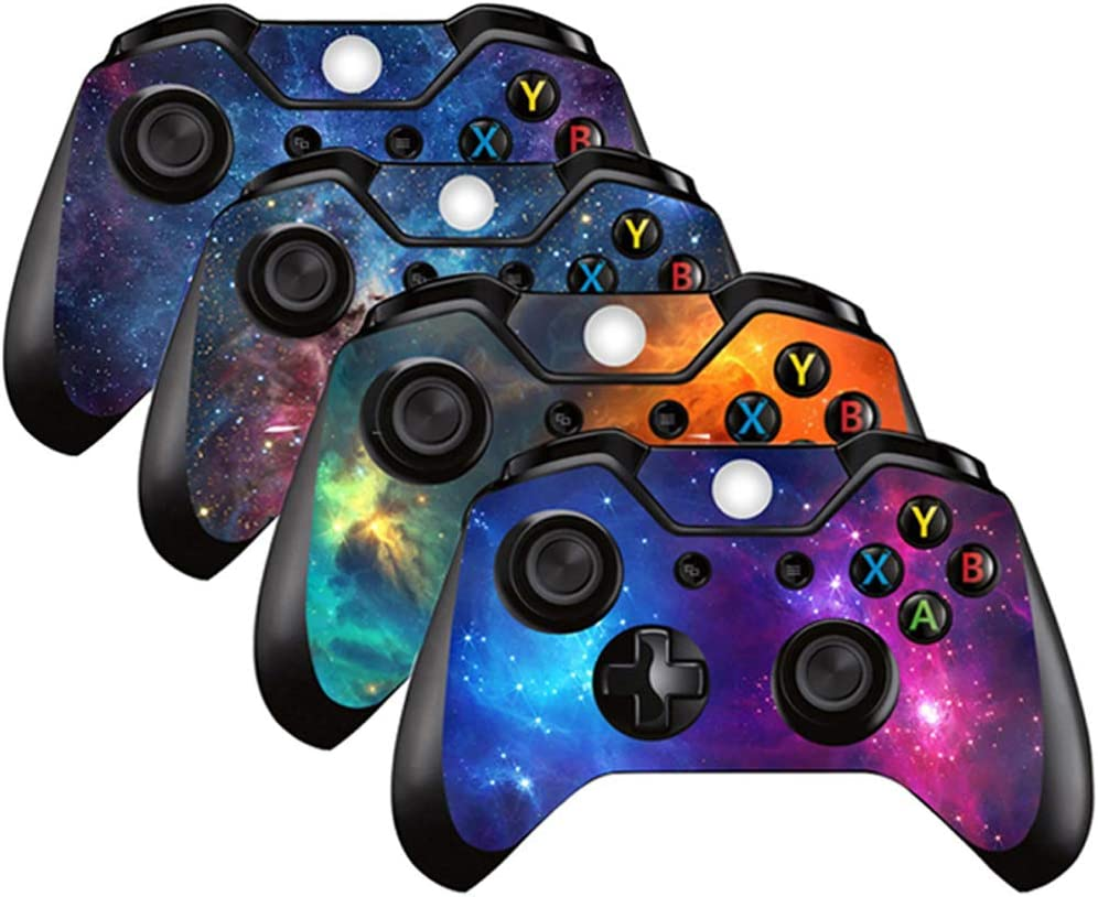 4PCS Vinyl Decal Skin Sticker Protective Cover Skin for Microsoft Xbox One Controller (Nebula)