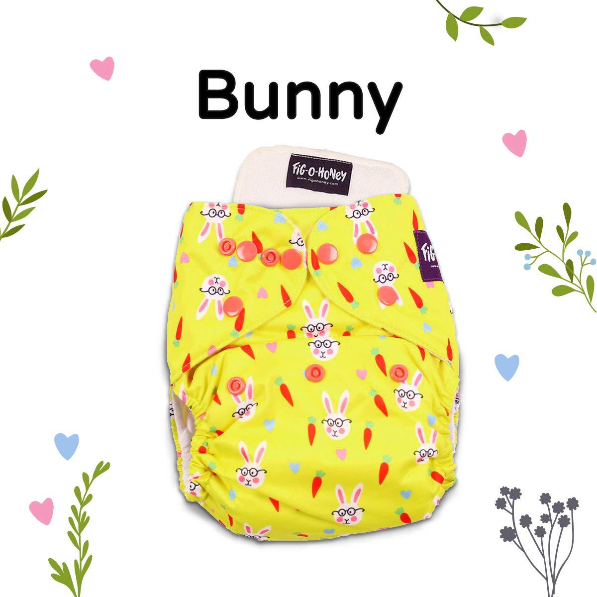 Fig-O-Honey Reusable Cloth Diaper One Size (5 kg to 15 kg), Includes 1  Insert (Bunny)