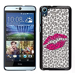 // PHONE CASE GIFT // Duro Estuche protector PC Cáscara Plástico Carcasa Funda Hard Protective Case for HTC Desire D826 / Leopard Pattern Lips Pink Hot Love /