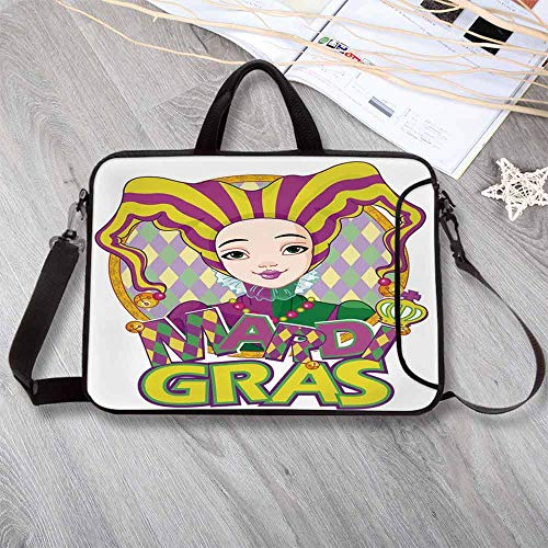 """Mardi Gras Anti-Seismic Neoprene Laptop Bag,Carnival Girl in Harlequin Costume and Hat Cartoon Fat Tuesday Theme Laptop Bag for Travel Office School,12.6""""L x 9.4""""W x -"""