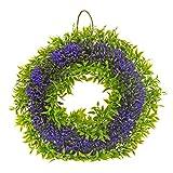Saim Plastic Plant Floral Front Door Wreath 12-Inch Diameter Hanging Wall Window Decoration Seasonal Home Garden Decor