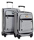 Nicole Miller New York Taylor 2-Piece Luggage Set: 24'' and 20'' Spinners (Black/White Plaid)