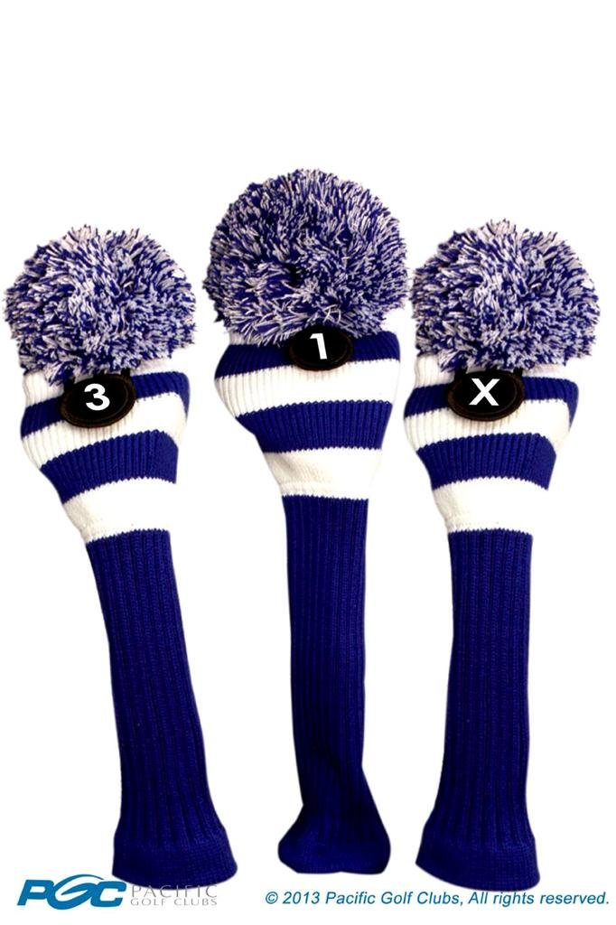 Majek Golf Club 1 3 X White and Blue Limited Edition Driver and Fairway Wood Head Covers Fits 460cc Drivers Tour Knit Retro Vintage Pom Classic Long Neck Metal Longneck Woods Headcovers
