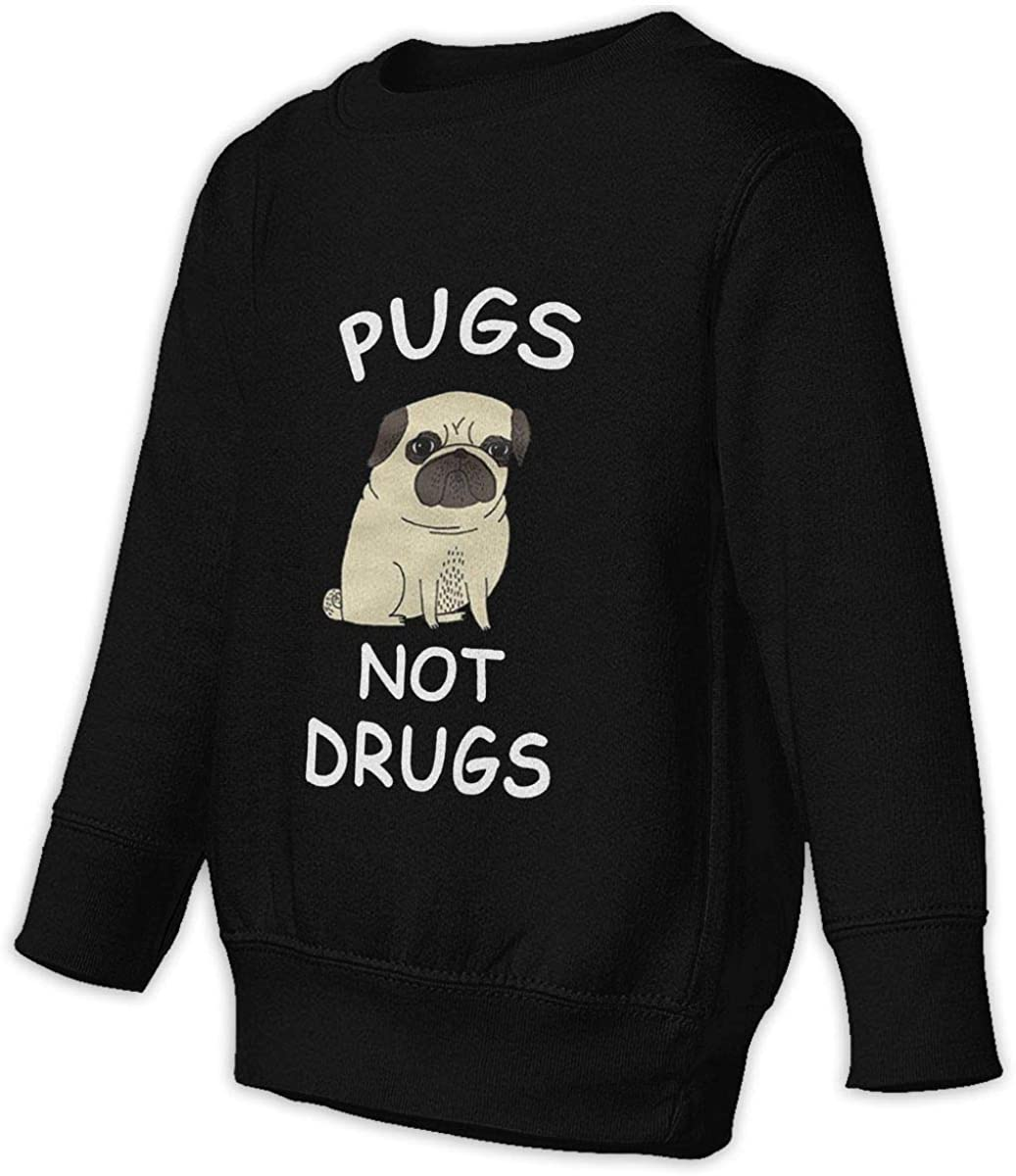 Pugs Not Drugs Boys Girls Pullover Sweaters Crewneck Sweatshirts Clothes for 2-6 Years Old Children