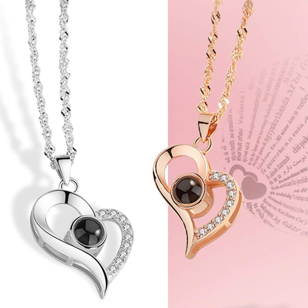 Amazon.com: Himpokejg Womens Fashion Love Heart Pendant Necklaces Shiny Rhinestone Wedding Party Decor Gift-Silver: Jewelry