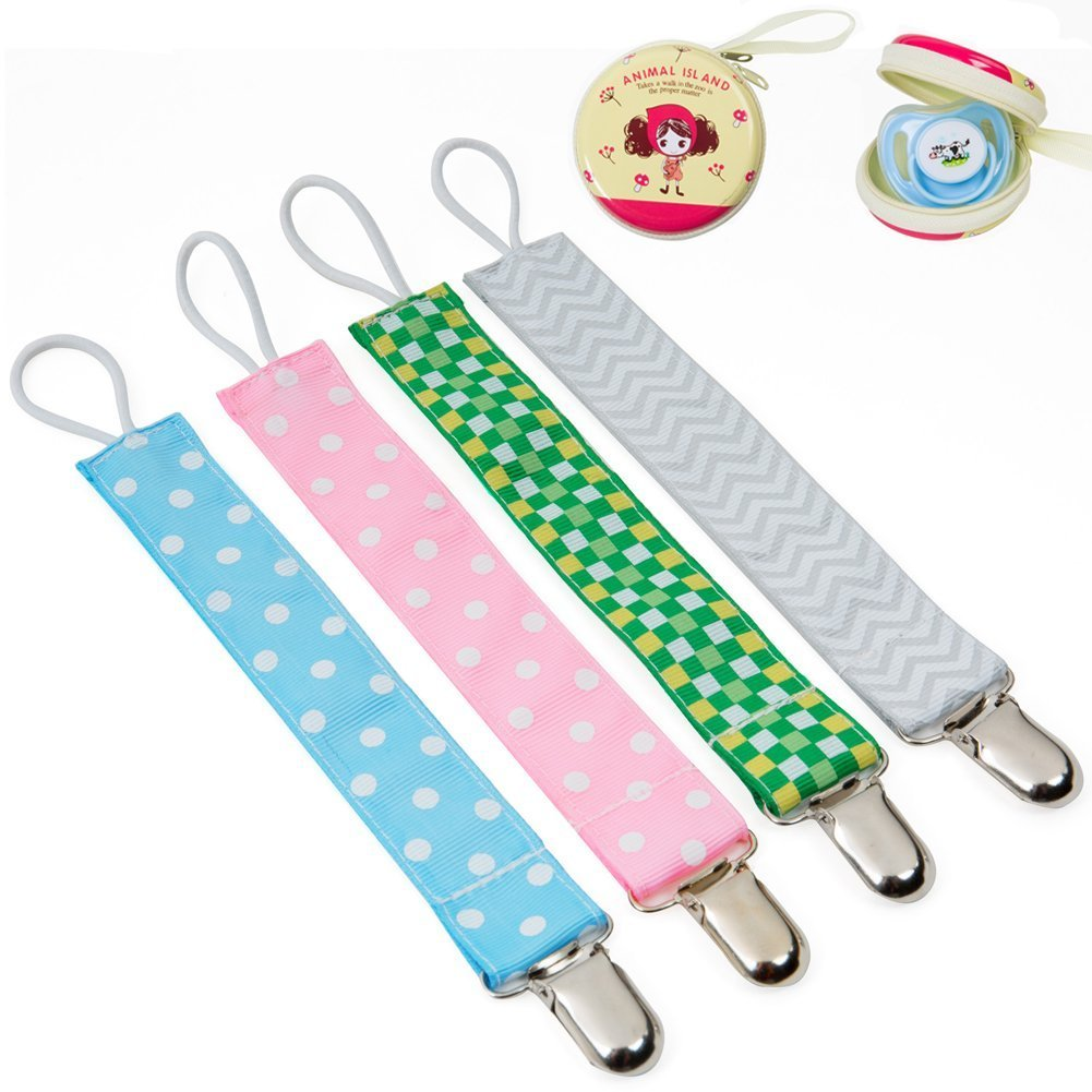 Baby Pacifier Clip Holder + Pacifier Case - 4 Pack Unisex Teething Clips Pacifier Teething Holder Leash for Boys and Girls,Teething Toy and Soothie