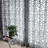 ESHOWEE Floral Voile Door Window Sheer Panels Curtains 1 Pc 78.7