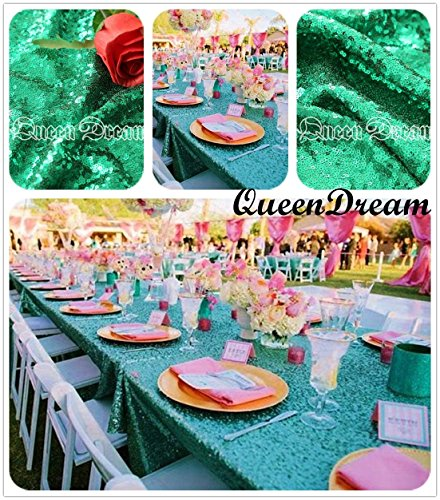 QueenDreeam 90x132 Sequin RECTANGULAR Tablecloth - Green
