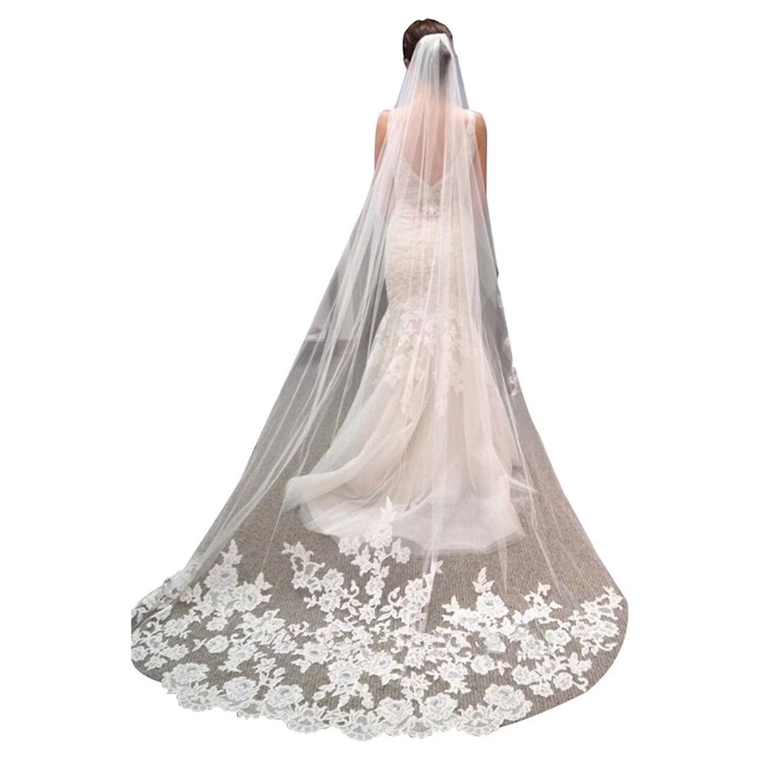 Sapphire Bridal Womens Lace Appliques Tulle Chapel Bridal Wedding