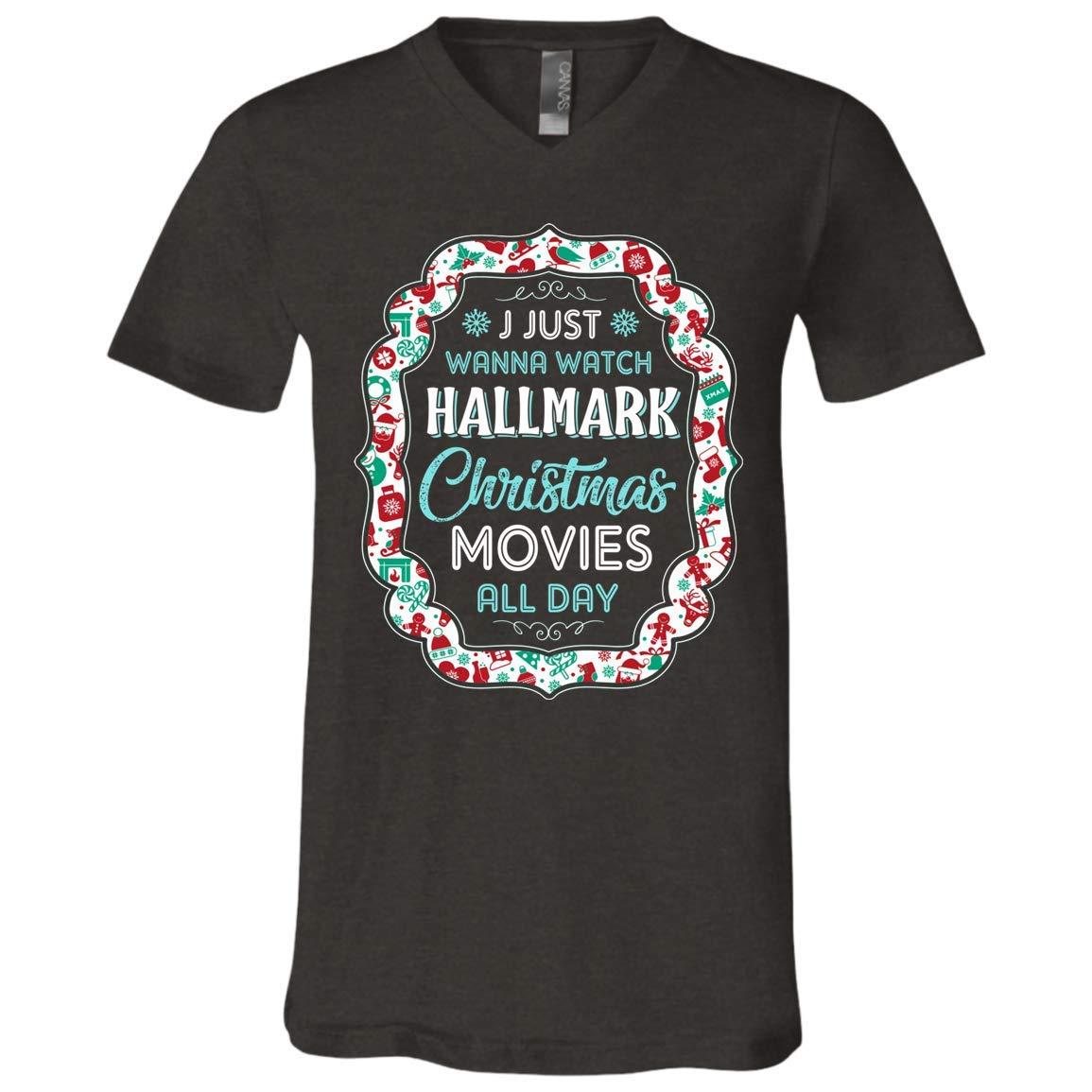 Hallmark Christmas Shirt.I Just Wanna Watch Hallmark Christmas Movies All Day T Shirt Christmas Movies Fans T Shirt