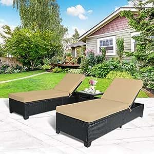 Nube montaña juego al aire libre ratán Chaise Lounge PE ajustable jardín, piscina salón de ratán mimbre sillas y mesa? Cojines de color blanco crema con cacao marrón ratán