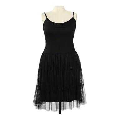 Areve Black Mid Length Slip Dress With Mesh Bottom At Amazon