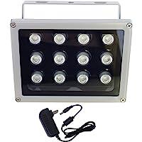 AUTENS IR Illuminator, 850nm 12-LEDs 90 Degree Wide Angle IP67 Waterproof Night Vision LED Array IR Infrared Light with…