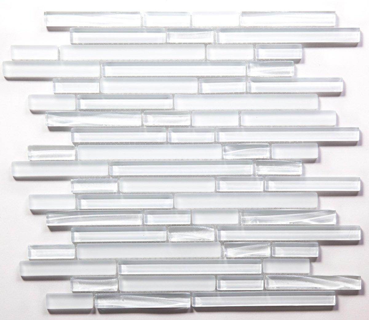 Super White Sleek Horizontal Mosaic Glass Tile / 110 sq ft