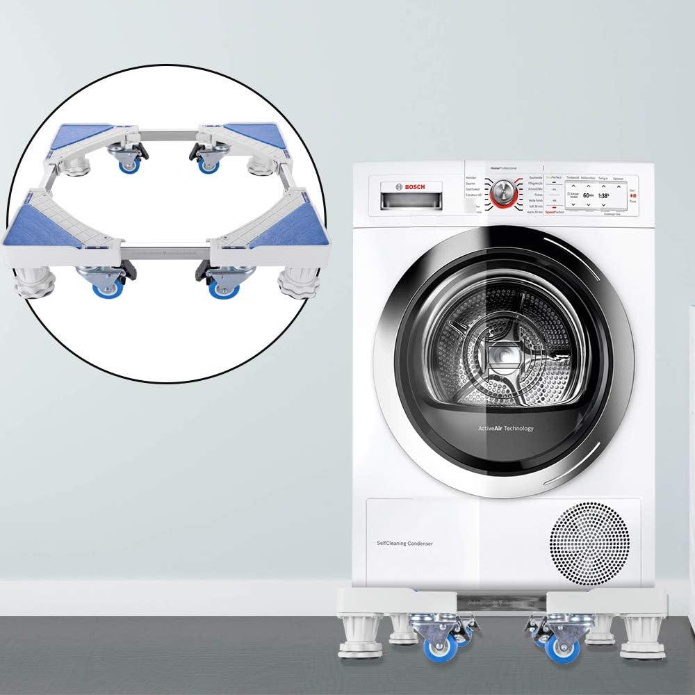 Base móvil ajustable para lavadora con 4 ruedas y 4 patas con ...