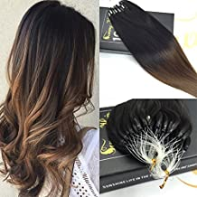 """Sunny Micro Loop Hair Extensions Human Hair Black to Brown Unprocessed Remy Hair Extensions 50g 14"""" 1g/strand"""