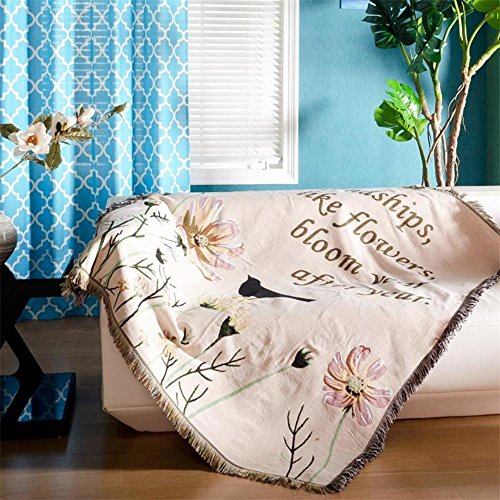 Sofa slipcovers cotton cloth sofa towel single sofa blanket non-slip mediterranean decorative carpet -C 135x160cm(53x63inch) by lovehouse