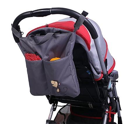 Y-Step - Bolso cambiador multifuncional para mamá o bebé, organizador de cochecito gris Talla:Monkey