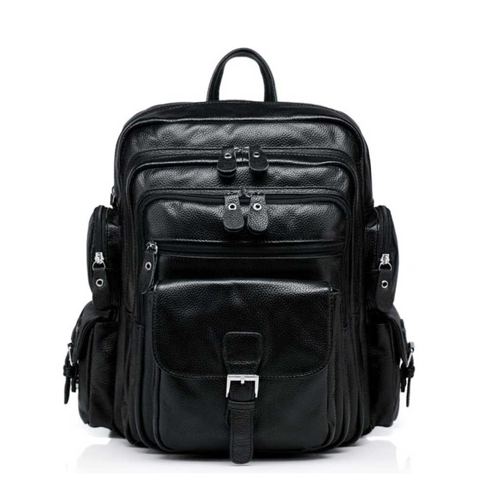 Nasis Damen Vintage retro Leder Rucksack Daypacks Campus College Multifunktion AL5090 (schwarz)